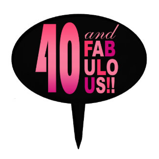 CAKE TOPPER 40 and Fabulous Birthday pink  fuschia