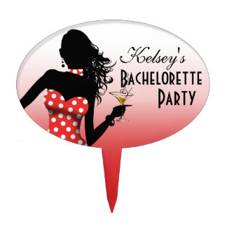 CAKE TOPPER Dotted Bachelorette Party - red