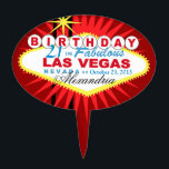 "CAKE TOPPER Las Vegas 21st Birthday<br><div class=""desc"">Las Vegas Birthday cake topper pick. Use the orange customize it button above to add your text and the background color of your choice.</div>"