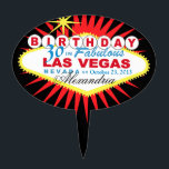 "CAKE TOPPER Las Vegas 30th Birthday<br><div class=""desc"">Las Vegas Birthday cake topper pick. Use the orange customize it button above to add your text and the background color of your choice.</div>"