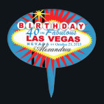 "CAKE TOPPER Las Vegas 40th Birthday<br><div class=""desc"">Las Vegas Birthday cake topper pick. Use the orange customize it button above to add your text and the background color of your choice.</div>"
