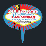 """CAKE TOPPER Las Vegas 40th Birthday<br><div class=""""desc"""">Las Vegas Birthday cake topper pick. Use the orange customize it button above to add your text and the background color of your choice.</div>"""