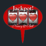 """CAKE TOPPER Las Vegas Jackpot Wedding<br><div class=""""desc"""">Las Vegas Jackpot Wedding cake topper pick. Use the orange customize it button above to add your text and the background color of your choice.</div>"""