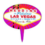 CAKE TOPPER Las Vegas Wedding Sign<br><div class='desc'>Las Vegas Wedding cake topper pick. Use the orange customize it button above to add your text and the background color of your choice.</div>