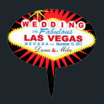 """CAKE TOPPER Las Vegas Wedding Sign<br><div class=""""desc"""">Las Vegas Wedding cake topper pick. Use the orange customize it button above to add your text and the background color of your choice.</div>"""