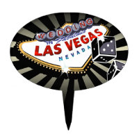 CAKE TOPPER Las Vegas Wedding Sign black silver
