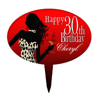 CAKE TOPPER Leopard 30th Birthday red white