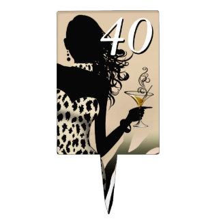CAKE TOPPER Leopard 40th Birthday Diva - beige