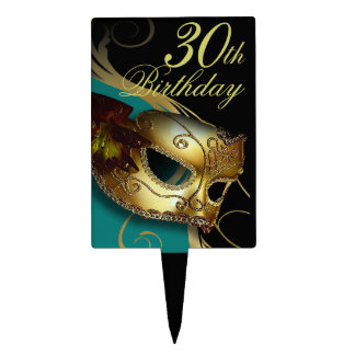 CAKE TOPPER Masquerade Party Venetian Mask teal