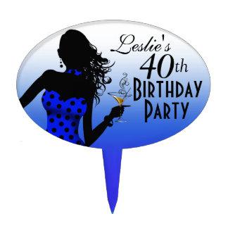 CAKE TOPPER Polka Dot 40th Birthday - blue