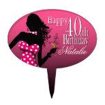 CAKE TOPPER Polka Dot 40th Birthday fuschia pink