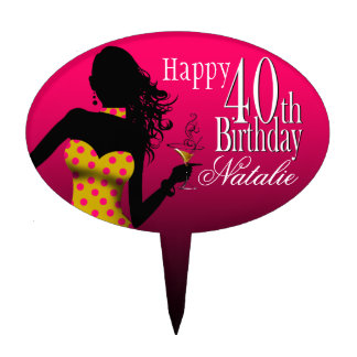 CAKE TOPPER Polka Dot 40th Birthday fuschia yellow