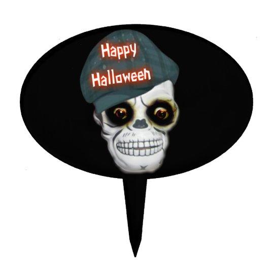 Cake Topper Skeleton Head Happy Halloween