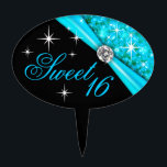 """CAKE TOPPER Sweet 16 Bling<br><div class=""""desc"""">Sweet 16 Bling cake topper pick. This beautiful design works well for weddings,  birthdays,  bridal showers or any special occasion. Use the orange customize it button above to add your own text.</div>"""
