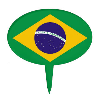 Cake Topper with Flag of Brazil