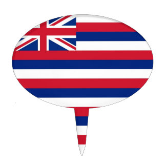 Cake Topper with Flag of Hawaii, USA