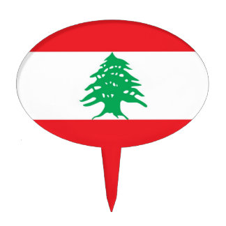 Cake Topper with Flag of Lebanon