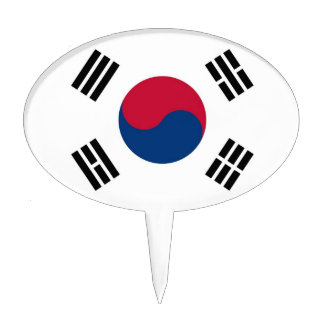 Cake Topper with Flag of South Korea