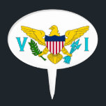 """Cake Topper with Flag of Virgin Islands, USA<br><div class=""""desc"""">Elegant Cake Pick Topper with Flag of Virgin Islands,  United States of America. This product its customizable.</div>"""