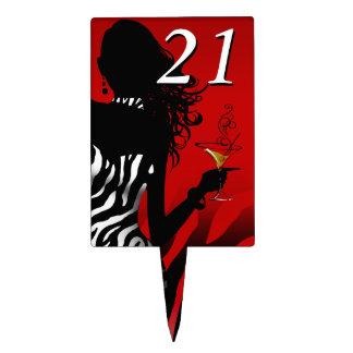 CAKE TOPPER Zebra 21st Birthday Diva - red