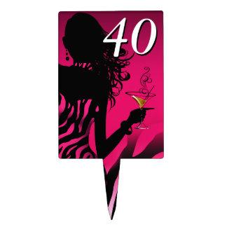 CAKE TOPPER Zebra 40th Birthday Diva - fuschia