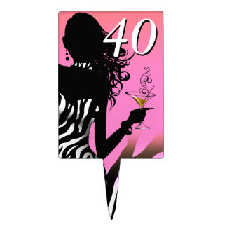 CAKE TOPPER Zebra 40th Birthday Diva - pink