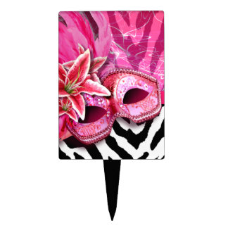 CAKE TOPPER Zebra Masquerade Costume Party pink