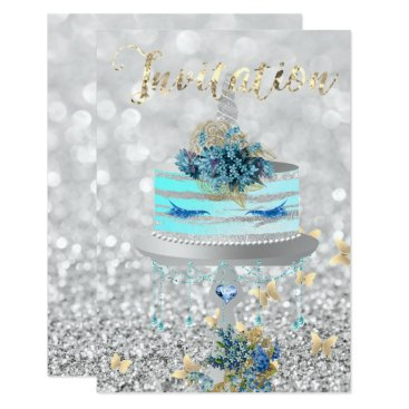 McTiffany Tiffany Aqua Cake Unicorn Party Glitter Lashes Blue Silver Gray Card
