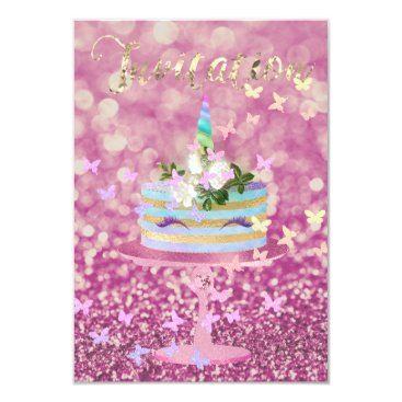 McTiffany Tiffany Aqua Cake Unicorn Party Glitter Lashes Pink Rose Glam Card