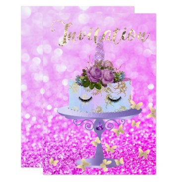 McTiffany Tiffany Aqua Cake Unicorn Rose Gold Glitter Lashes Amethyst Card
