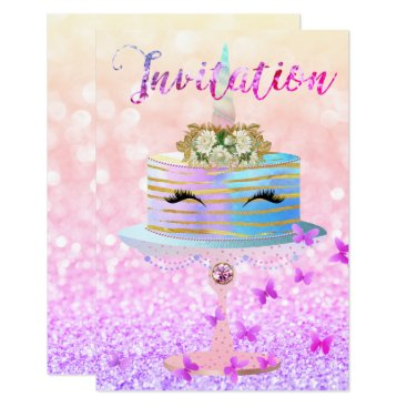 McTiffany Tiffany Aqua Cake Unicorn Rose Gold Glitter Lashes Bright Pink Card