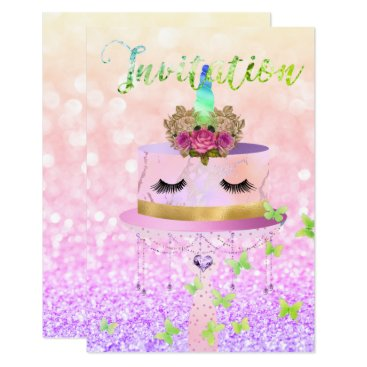 McTiffany Tiffany Aqua Cake Unicorn Rose Gold Glitter Lashes Pastel Roses Card