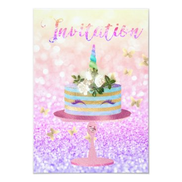 McTiffany Tiffany Aqua Cake Unicorn Rose Gold Glitter Ombre Pink Card