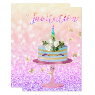 McTiffany Tiffany Aqua Cake Unicorn Rose Gold Glitter Ombre Rainbow Card