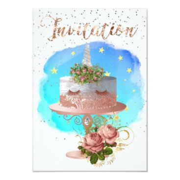 McTiffany Tiffany Aqua Cake Unicorn Rose Gold Watercolor Star Aqua Ocean Card