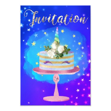 McTiffany Tiffany Aqua Cake Unicorn Rose Gold Watercolor Starry Night Card
