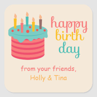 Cake with candles Birthday Wishes Square Sticker