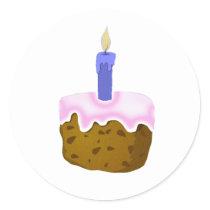 cake with icing,sticker classic round sticker