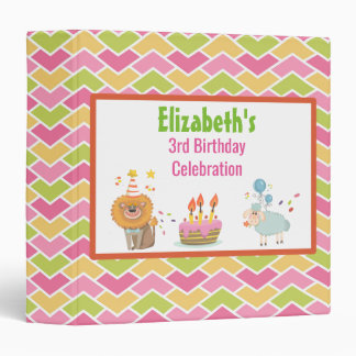 Cake with Party Lion and Sheep Birthday Album 3 Ring Binder