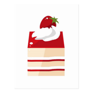 Cake with strawberry postcard