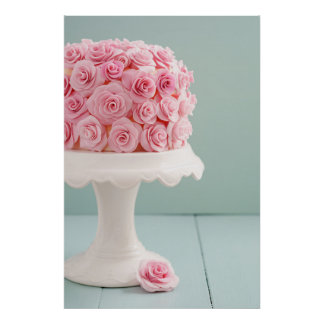 Cake with sugar roses poster