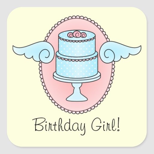 Cake with Wings Square Sticker