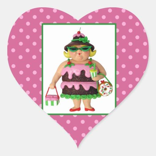 Cake Woman Heart Sticker