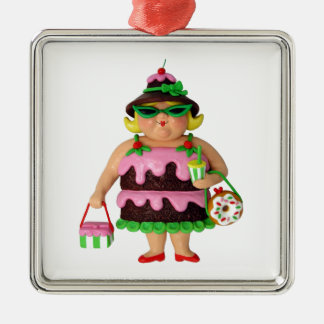Cake Woman Square Metal Christmas Ornament