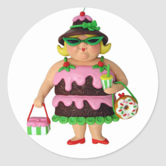 Cake Woman Classic Round Sticker