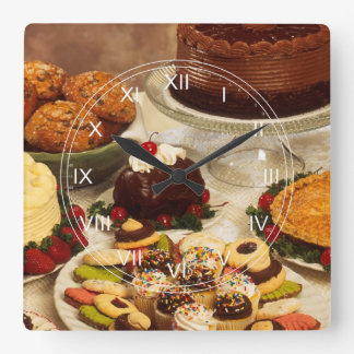 Cakes and sweets square wall clock