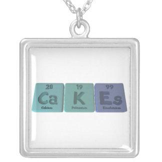 Cakes-Ca-K-Es-Calcium-Potassium-Einsteinium.png Square Pendant Necklace