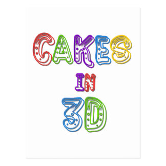 Cakes in 3D logo 2 Post Card