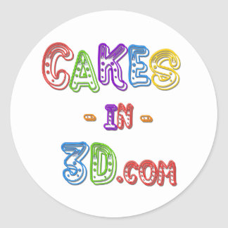 Cakes in 3D logo Classic Round Sticker