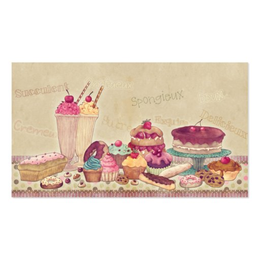 Cakes, Pies, Cookies, Ice Cream Business Card (back side)